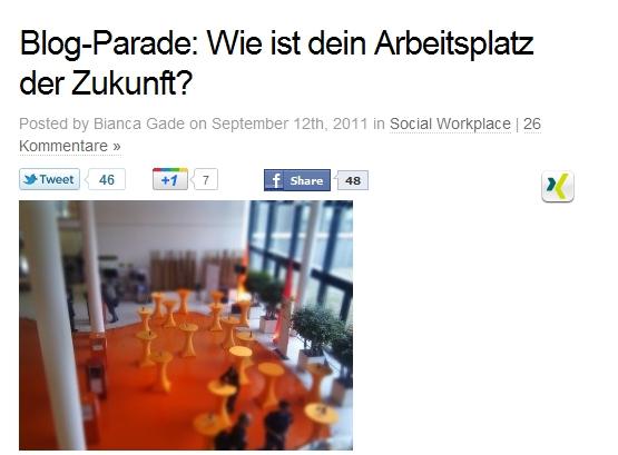 Blog-Parade: Arbeitsplatz der Zukunft